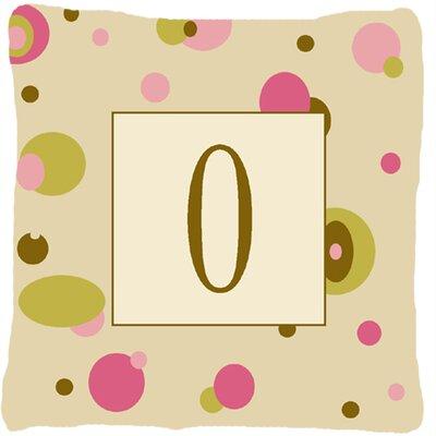 Monogram Initial Tan Dots Indoor/Outdoor Throw Pillow Letter: O