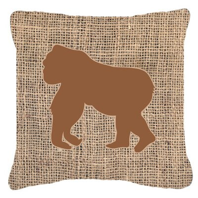 Gorilla Burlap Indoor/Outdoor Throw Pillow Size: 18 H x 18 W x 5.5 D, Color: Brown