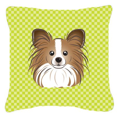 Checkerboard Papillion Indoor/Outdoor Throw Pillow Color: Green, Size: 14 H x 14 W x 4 D