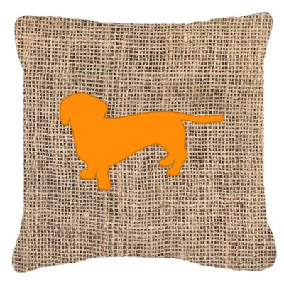 Dachshund Burlap Square Indoor/Outdoor Throw Pillow Size: 18 H x 18 W x 5.5 D, Color: Orange