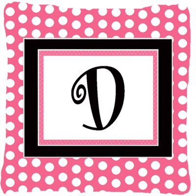 Letter Initial Monogram Pink Black Polka Dots Indoor/Outdoor Throw Pillow Letter: D
