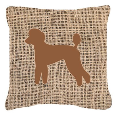 Poodle Burlap Square Indoor/Outdoor Throw Pillow Size: 14 H x 14 W x 4 D, Color: Brown