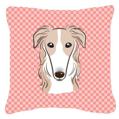 Checkerboard Borzoi Indoor/Outdoor Throw Pillow Color: Pink, Size: 14 H x 14 W x 4 D