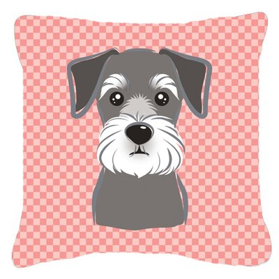 Checkerboard Schnauzer Indoor/Outdoor Throw Pillow Color: Pink, Size: 18 H x 18 W x 5.5 D