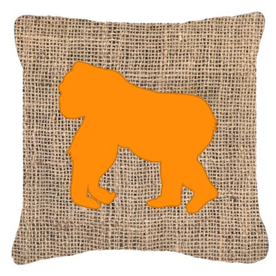 Gorilla Burlap Indoor/Outdoor Throw Pillow Size: 14 H x 14 W x 4 D, Color: Orange