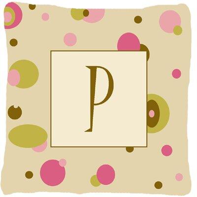 Monogram Initial Tan Dots Indoor/Outdoor Throw Pillow Letter: P
