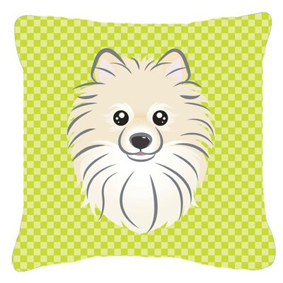 Checkerboard Pomeranian Indoor/Outdoor Throw Pillow Color: Green, Size: 14 H x 14 W x 4 D