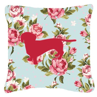 Dachshund Shabby Elegance Blue Roses Indoor/Outdoor Throw Pillow Size: 14