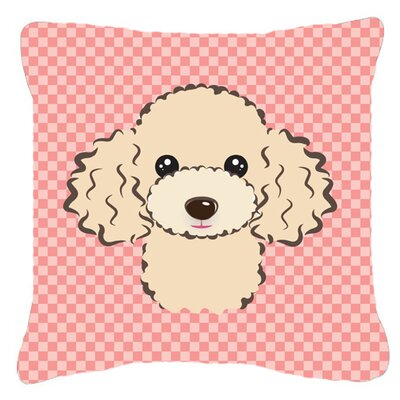Checkerboard Buff Poodle Indoor/Outdoor Throw Pillow Color: Pink, Size: 14 H x 14 W x 4 D