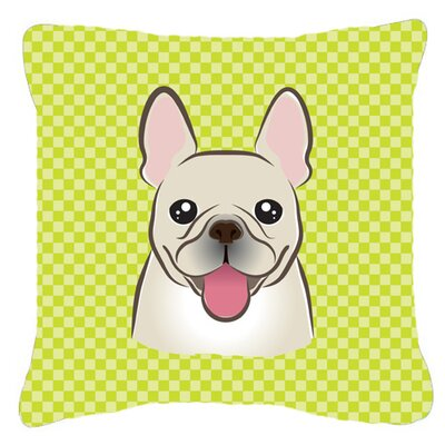 Checkerboard French Bulldog Indoor/Outdoor Throw Pillow Color: Green, Size: 14 H x 14 W x 4 D