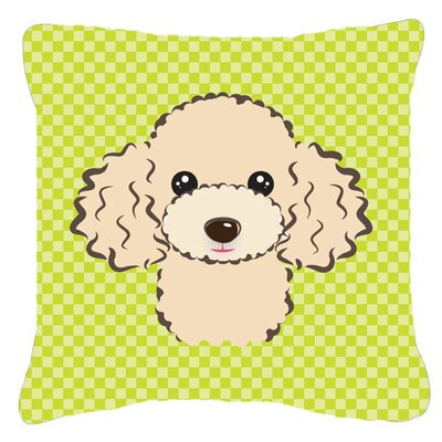 Checkerboard Buff Poodle Indoor/Outdoor Throw Pillow Color: Green, Size: 14 H x 14 W x 4 D