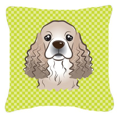 Checkerboard Cocker Spaniel Indoor/Outdoor Throw Pillow Color: Green, Size: 14 H x 14 W x 4 D
