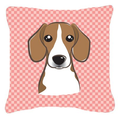 Checkerboard Beagle Indoor/Outdoor Throw Pillow Color: Pink, Size: 18 H x 18 W x 5.5 D