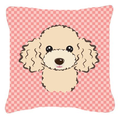 Checkerboard Buff Poodle Indoor/Outdoor Throw Pillow Size: 18 H x 18 W x 5.5 D, Color: Pink