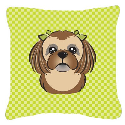 Checkerboard Chocolate Brown Shih Tzu Indoor/Outdoor Throw Pillow Color: Green, Size: 14 H x 14 W x 4 D
