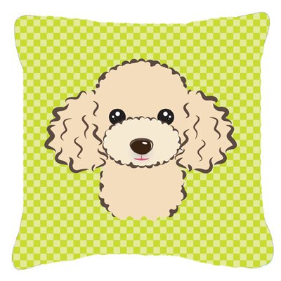 Checkerboard Buff Poodle Indoor/Outdoor Throw Pillow Color: Green, Size: 18 H x 18 W x 5.5 D
