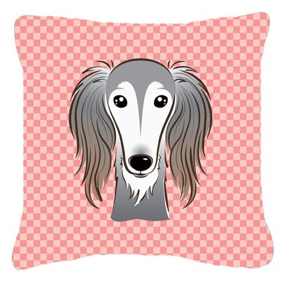 Checkerboard Saluki Indoor/Outdoor Throw Pillow Color: Pink, Size: 14 H x 14 W x 4 D