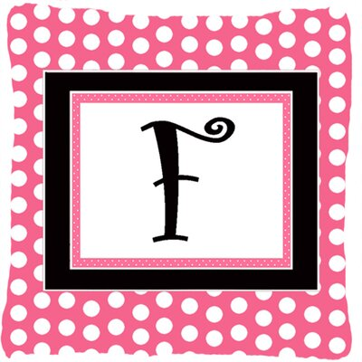 Letter Initial Monogram Pink Black Polka Dots Indoor/Outdoor Throw Pillow Letter: F