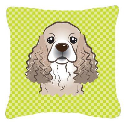 Checkerboard Cocker Spaniel Indoor/Outdoor Throw Pillow Color: Green, Size: 18 H x 18 W x 5.5 D