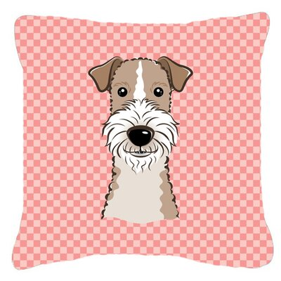 Checkerboard Wire Haired Fox Terrier Indoor/Outdoor Throw Pillow Color: Pink, Size: 14 H x 14 W x 4 D