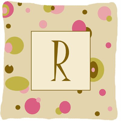 Monogram Initial Tan Dots Indoor/Outdoor Throw Pillow Letter: R