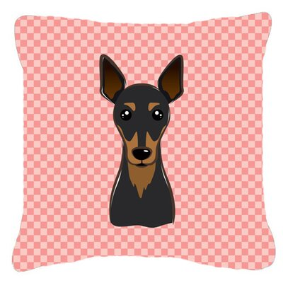 Checkerboard Min Pin Indoor/Outdoor Throw Pillow Color: Pink, Size: 14 H x 14 W x 4 D