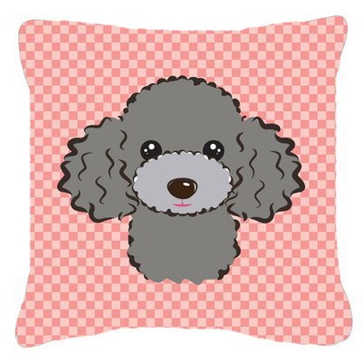 Checkerboard Silver Gray Poodle Indoor/Outdoor Throw Pillow Color: Pink, Size: 14 H x 14 W x 4 D
