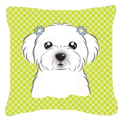 Checkerboard Maltese Indoor/Outdoor Throw Pillow Color: Green, Size: 14 H x 14 W x 4 D