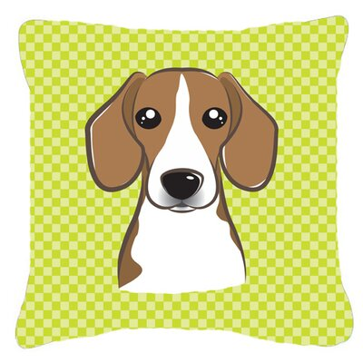 Checkerboard Beagle Indoor/Outdoor Throw Pillow Color: Green, Size: 14 H x 14 W x 4 D