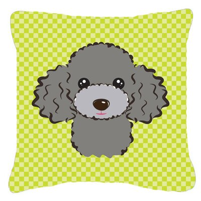 Checkerboard Silver Gray Poodle Indoor/Outdoor Throw Pillow Color: Green, Size: 14 H x 14 W x 4 D