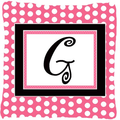 Letter Initial Monogram Pink Black Polka Dots Indoor/Outdoor Throw Pillow Letter: G