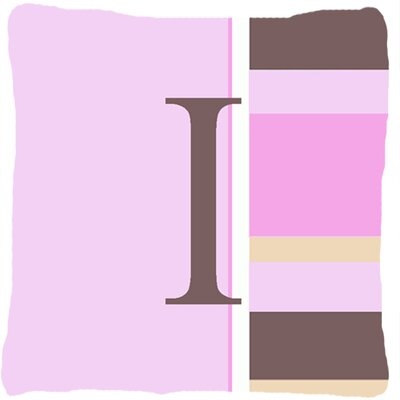 Monogram Initial Pink Stripes Indoor/Outdoor Throw Pillow Letter: I