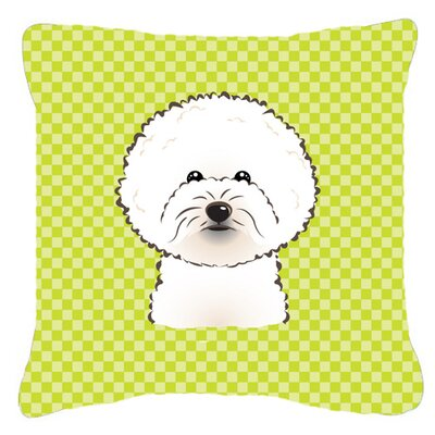Checkerboard Bichon Frise Indoor/Outdoor Throw Pillow Color: Green, Size: 14 H x 14 W x 4 D