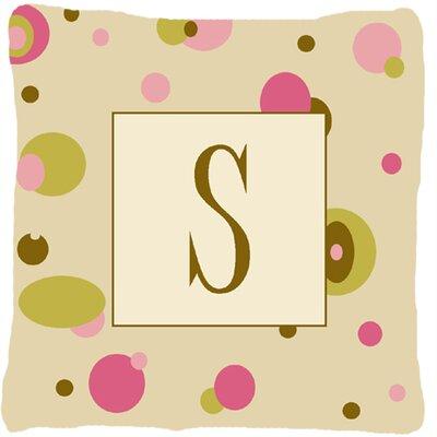 Monogram Initial Tan Dots Indoor/Outdoor Throw Pillow Letter: S