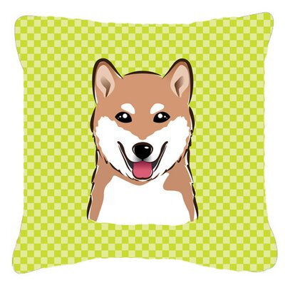 Checkerboard Shiba Inu Indoor/Outdoor Throw Pillow Color: Green, Size: 14 H x 14 W x 4 D
