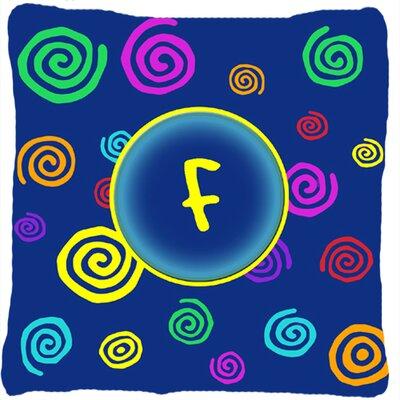 Monogram Initial Blue Swirls Indoor/Outdoor Throw Pillow Letter: F