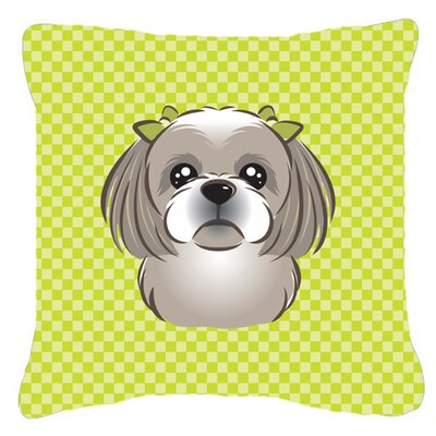 Checkerboard Gray Silver Shih Tzu Indoor/Outdoor Throw Pillow Color: Green, Size: 14 H x 14 W x 4 D