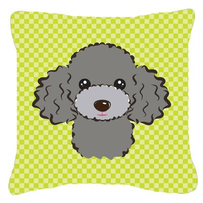 Checkerboard Silver Gray Poodle Indoor/Outdoor Throw Pillow Color: Green, Size: 18 H x 18 W x 5.5 D