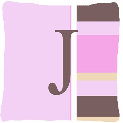 Monogram Initial Pink Stripes Indoor/Outdoor Throw Pillow Letter: J