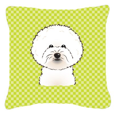 Checkerboard Bichon Frise Indoor/Outdoor Throw Pillow Color: Green, Size: 18 H x 18 W x 5.5 D