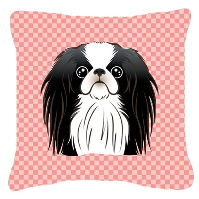 Checkerboard Japanese Chin Indoor/Outdoor Throw Pillow Color: Pink, Size: 14 H x 14 W x 4 D