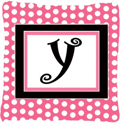 Letter Initial Monogram Pink Black Polka Dots Indoor/Outdoor Throw Pillow Letter: Y