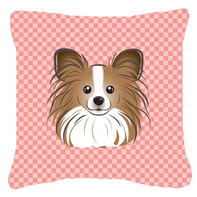 Checkerboard Papillion Indoor/Outdoor Throw Pillow Color: Pink, Size: 14 H x 14 W x 4 D