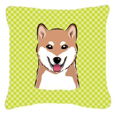Checkerboard Shiba Inu Indoor/Outdoor Throw Pillow Color: Green, Size: 18 H x 18 W x 5.5 D