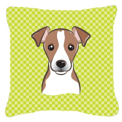 Checkerboard Jack Russell Terrier Indoor/Outdoor Throw Pillow Size: 14 H x 14 W x 4 D, Color: Green