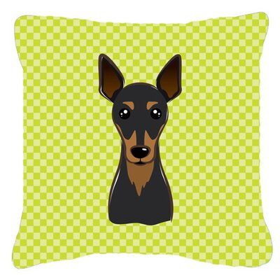 Checkerboard Min Pin Indoor/Outdoor Throw Pillow Color: Green, Size: 14 H x 14 W x 4 D