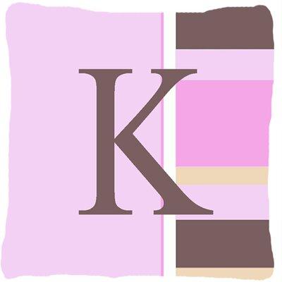 Monogram Initial Pink Stripes Indoor/Outdoor Throw Pillow Letter: K