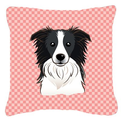 Checkerboard Border Collie Indoor/Outdoor Throw Pillow Color: Pink, Size: 18 H x 18 W x 5.5 D