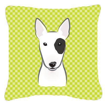 Checkerboard Bull Terrier Indoor/Outdoor Throw Pillow Color: Green, Size: 14 H x 14 W x 4 D