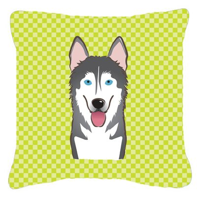 Checkerboard Alaskan Malamute Indoor/Outdoor Throw Pillow Color: Green, Size: 14 H x 14 W x 4 D